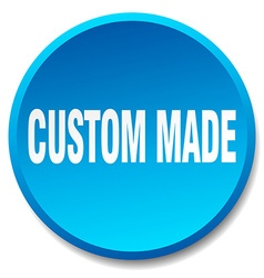 Custom made blue round flat isolated push button vector