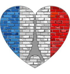 Flag of france on a brick wall in heart shape vector