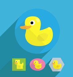 Cartoon flat shape rubber duck vector