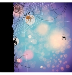 Autumn background with spiders vector image vector image
