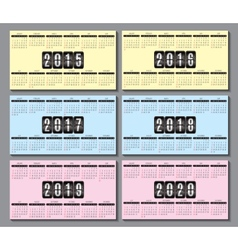 calendar grid 2015 2016 2020 for business card vector image vector image