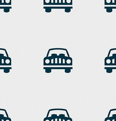 Car Icon sign Seamless pattern with geometric vector image