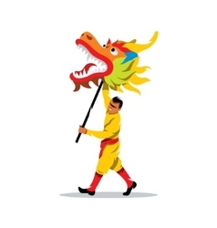 Chinese dragon and man dancing in vector image vector image