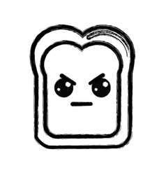 Contour kawaii cute angry bread icon vector