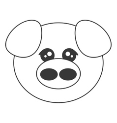 Cute pig cartoon icon vector