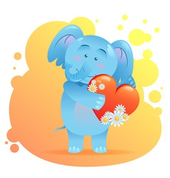 Cute toy Elephant pet isolated holding heart vector image