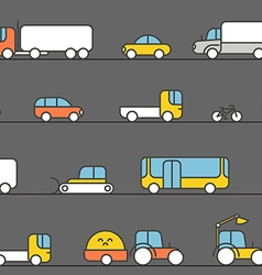 Different transport silhouette icons collection vector image