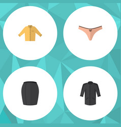 Flat icon garment set of stylish apparel banyan vector