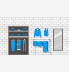 Jeans clothes shop indoor interior flat background vector