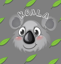 Koala face and gum leaves vector
