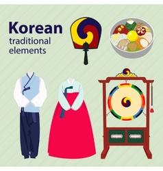 Korean traditional elements set vector