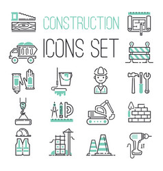 Linear under construction icons set universal web vector