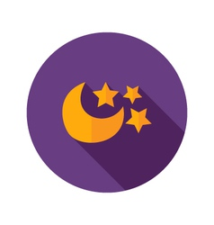 Moon with three stars flat icon vector