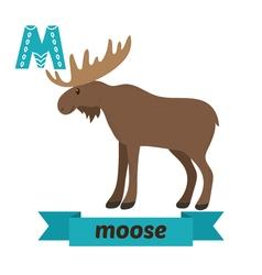 Moose M letter Cute children animal alphabet in vector image vector image