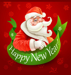New year card with santa claus on red background vector