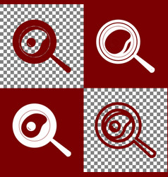 Omelet at pan icon bordo and white icons vector