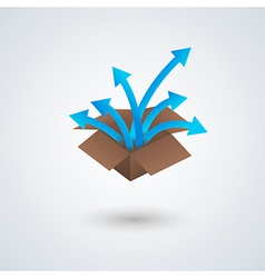 paper box and arrows vector image