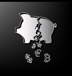 Pig money bank sign gray 3d printed icon vector