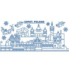 Poland sopot winter city skyline merry christmas vector
