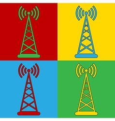 Pop art transmitter icons vector