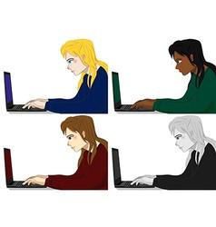 Programmer working woman vector