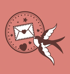 Romantic design with swallow vector