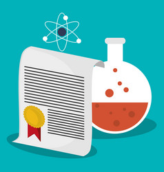 Science test tube certificate atom school vector