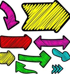 Scribbled color arrows set vector