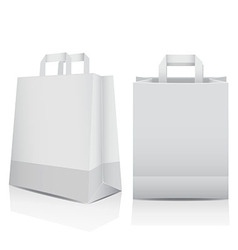 Two white shopping carrier bags vector image vector image