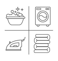 washing ironing clean laundry line icons washing vector image vector image