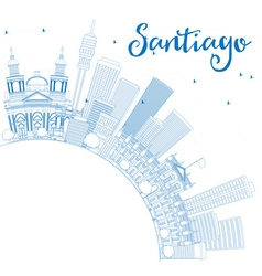 Outline santiago chile skyline vector