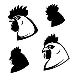 Set of chicken heads Rooster head Design vector image