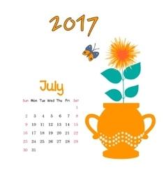 Calendar July 2017 Template Week starts vector image