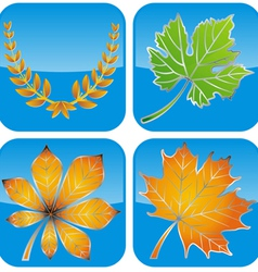 icon leave gold vector image