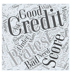 Bad credit score word cloud concept vector