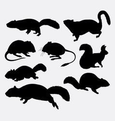 Squirrel rat and mouse animal silhouette vector