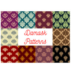 Victorian floral damask seamless pattern set vector
