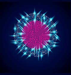 Futuristic cybernetic scheme motherboard blue vector