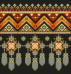 Ethnic pixel pattern embroidery folk tribal vector