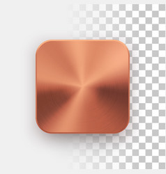 Bronze app icon template with metal texture vector