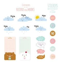 Cute and funny smiley weather icons vector
