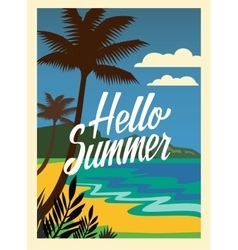 Summer beach and palm trees vector