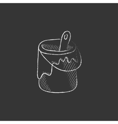 Paint brush in the paint tin drawn in chalk icon vector
