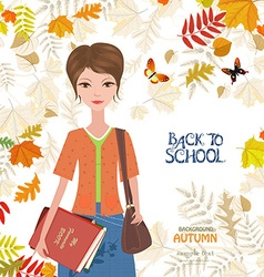 cute girl with books on colorful autumn background vector image