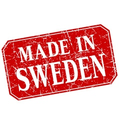 Made in sweden red square grunge stamp vector