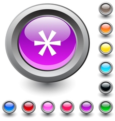 Asterisk round button vector