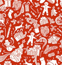 Boundless Red and White Cartoon Christmas vector image vector image