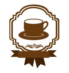 brown border heraldic decorative ribbon with dish vector image