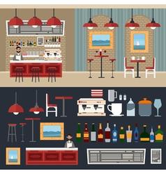 Cafe interior barman coffee house vector