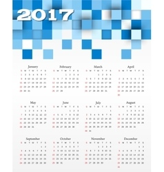 calendar with blue squares vector image vector image